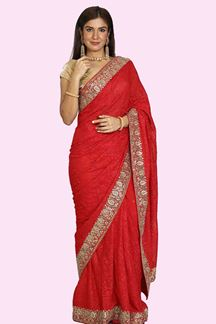 Picture of Mesmeric Red Colored Embroidered Georgette Saree