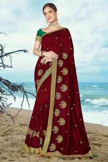 Picture of Flamboyant Maroon Colored Partywear Artificial Silk Saree