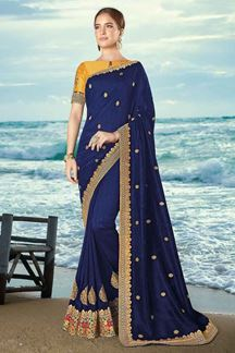 Picture of Blooming Royal Blue & Mustard Colored Artificial Silk Saree