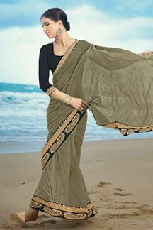 Picture of Trendy Green Colored Artificial Silk Saree
