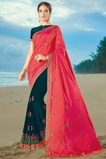 Picture of Arresting Peach-Peacock Blue Colored Partywear Half-Half Saree