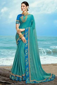 Picture of Mesmeric Blue Colored Party Wear Georgette Saree