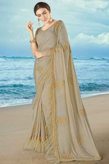 Picture of Energetic Beige Colored Partywear Embroidered Frill Saree