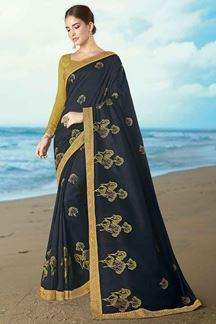 Picture of Surpassing Blue Colored Partywear Embroidered Saree