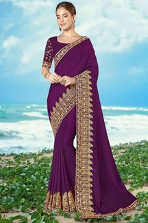 Picture of Trendy Purple Colored Embroidered Artificial silk Saree