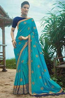 Picture of Impressive Blue Colored Artificial Silk Saree