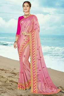 Picture of Captivating Pink Colored Embroidered Shimmer Silk Saree