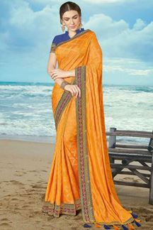 Picture of Exotic Orange Colored Party Wear Embroidered Artificial Silk Saree