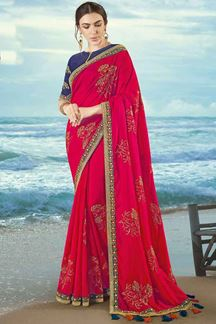 Picture of Mesmeric Pink Colored Embroidered  Artificial Silk Saree