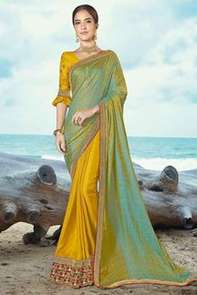 Picture of Eye-catching Yellow-Green Colored Half & Half Saree