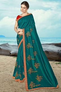 Picture of Teal Blue Colored Artificail Silk Saree