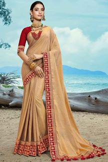Picture of Engrossing Red- Beige Colored Partywear Artificial Silk Saree
