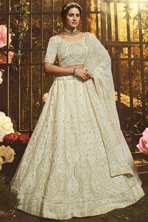 Picture of Exotic White Colored Georgette Lehenga Choli
