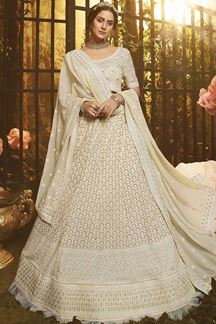 Picture of Lovely White Colored Embroider Georgette Lehenga Choli