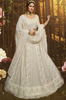 Picture of Delightful White Color Embroidery Georgette Lehenga Choli
