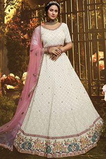 Picture of Perfect White Color Embroidery Georgette Lehenga Choli