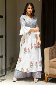 Picture of White Colored Printed Cotton Palazzo Suit