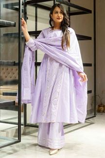 Picture of Purple Colored Cotton Gota Patti Palazzo Suit