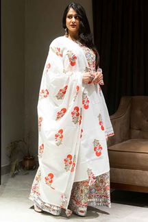 Picture of White Floral Hand Block Printed Suit With Skirt