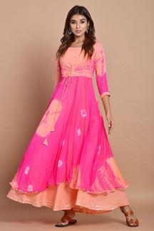 Picture of Pink Colored Nazneen Chiffon & Cotton Tie Dye Kurti