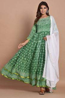 Picture of Green Colored Hand Block Printed Cotton Kurti