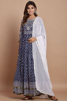 Picture of Navy Blue Colored Hand Block Printed Cotton Kurti