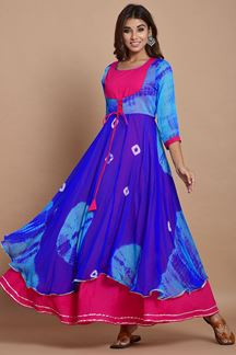 Picture of Blue & Pink Colored Nazneen Chiffon & Cotton Tie Dye Kurti
