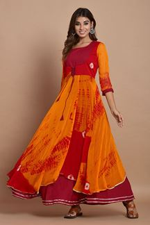 Picture of Orange & Red Colored Nazneen Chiffon & Cotton Tie Dye Kurti