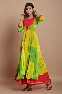 Picture of Green & Yellow Colored Nazneen Chiffon & Cotton Tie Dye Kurti