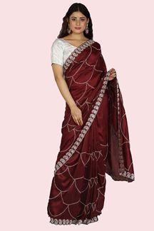 Picture of Amazing Maroon Colored Partywear Embroidered Silk Saree