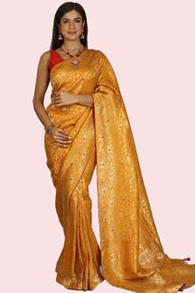 Picture of Gleaming Yellow Colored Partywear Embroidered Banarasi Silk Saree