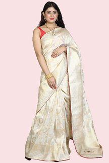 Picture of Mesmeric Cream Colored Festive Wear Woven Banarasi Silk Saree