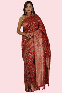 Picture of Energetic Red Colored Festive Wear Printed Banarasi Silk Saree