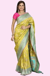 Picture of Parrot Green  & Firozi Blue Colored Banarasi Silk Saree