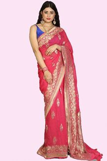 Picture of Blooming Rani Pink Colored Partywear Banarasi Georgette Saree