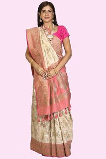 Picture of Gleaming Cream & Pink Colored Festive Wear Woven Banarasi Silk Saree