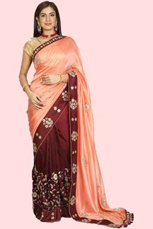 Picture of Preferable Peach & Maroon Colored Partywear Silk Saree