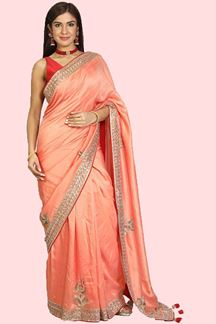 Picture of Glorious Peach Colored Partywear Silk Saree