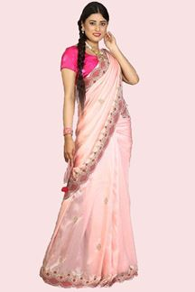 Picture of Gleaming baby Pink Colored Party Dola Silk Saree