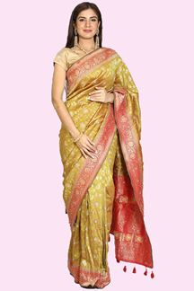 Picture of Lovely Green & Red Colored Festive Wear Woven Banarasi Silk Saree