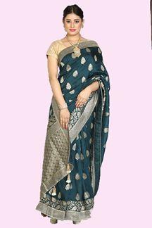 Picture of Ravishing Green Colored Festive Wear Woven Banarasi Silk Saree