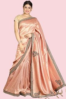 Picture of Peach Festive Wear Banarasi Silk Saree