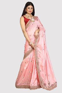 Picture of Prominent Peach Colored Party Wear Saree
