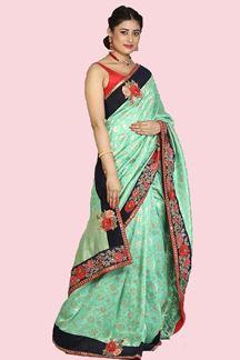 Picture of Desirable Sea Green Colored Festive Wear Woven Work Banarasi Silk Saree