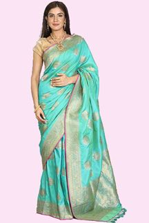 Picture of Flattering Green Colored Partywear Paper Silk Saree