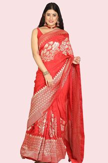 Picture of Mesmeric Red Colored Partywear Dola Silk Saree