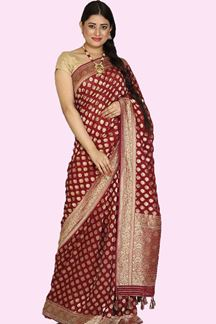 Picture of Radiant Maroon Colored Partywear Mysore Georgette Silk Saree