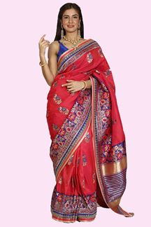 Picture of Ideal Purple-Red Colored Festive Wear Woven Banarasi Silk Saree