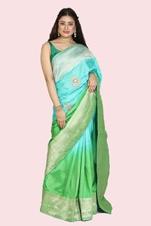 Picture of Adorable Shaded Green Colored Festive Wear Woven  Dola Silk Saree
