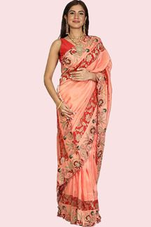 Picture of Alluring Peach Colored Partywear Crepe Silk Saree